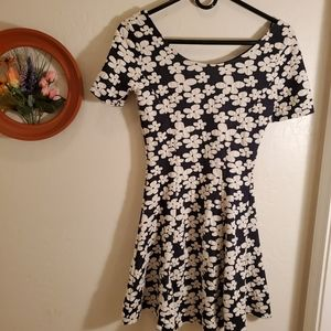 H&M navy dress with white flowers